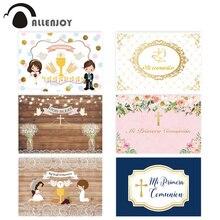 Allenjoy First Holy Communion Backgrounds Wooden Floor Flower Cross Lattice Children Photographic Backdrops Photocall Banner