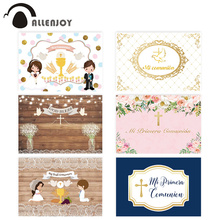 Allenjoy photophone backgrounds first communion Wooden floor dove cross lattice children photographic backdrops photocall