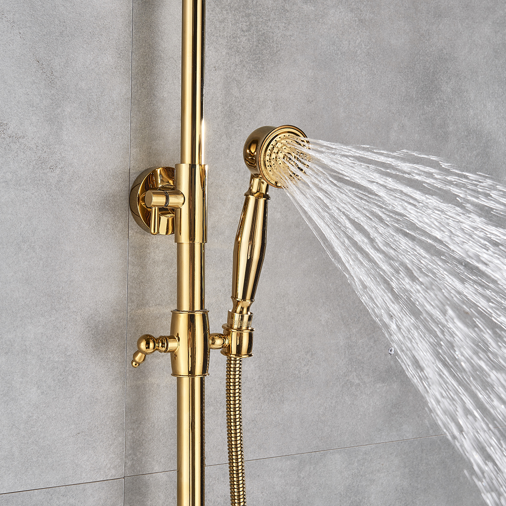 "Hbe07bed21113426488f021b3748d0ba2I Gold Polish Bathroom Rain Shower Faucet Bath Shower Mixer Tap 8"" Rainfall Head Shower Set System Bathtub Faucet Wall Mounted"