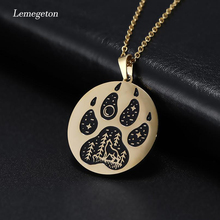 Lemegeton Cute Footprints Necklace Lone Wolf Bear Fox Dog Paw Print Necklaces Stainless Steel Jewelry for Women Sweater Necklace roz fox denny trouble at lone spur