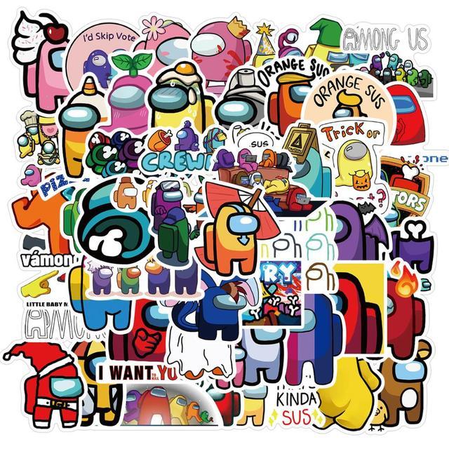 Hot 50Pcs/set Anime Stickers Among Us Stickers trust no one Graffiti Stickers Luggage Guitar Skateboard Among Us Game Sticker 2