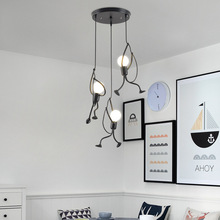 Northern Europe  Retro Creative Small Iron Man Chandelier Lamp Dining Room Bedroom Bedside Lamps Concise Art Ceiling Light