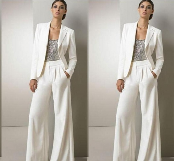 Modern White Three Pieces Mother Of The Bride Pant Suits For Silver Sequined Wedding Guest Dress Plus Size Dresses With Jackets