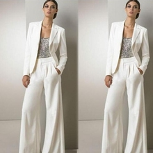 Modern White Three Pieces Mother Of The Bride Pant Suits For