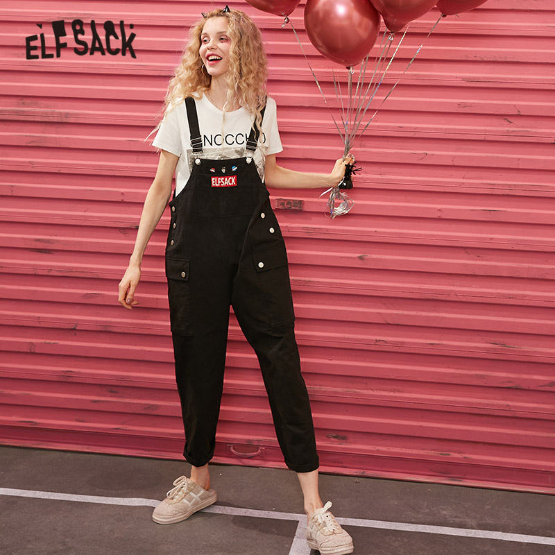 ELFSACK Black Original Graphic Print Casual Women Overall Trousers 2020 Spring New Pocket Straight Korean Ladies Daily Jumpsuits
