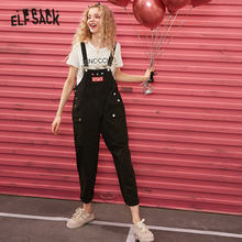 ELFSACK Black Original Graphic Print Casual Women Overall Trousers 2020 Spring New Pocket Straight K