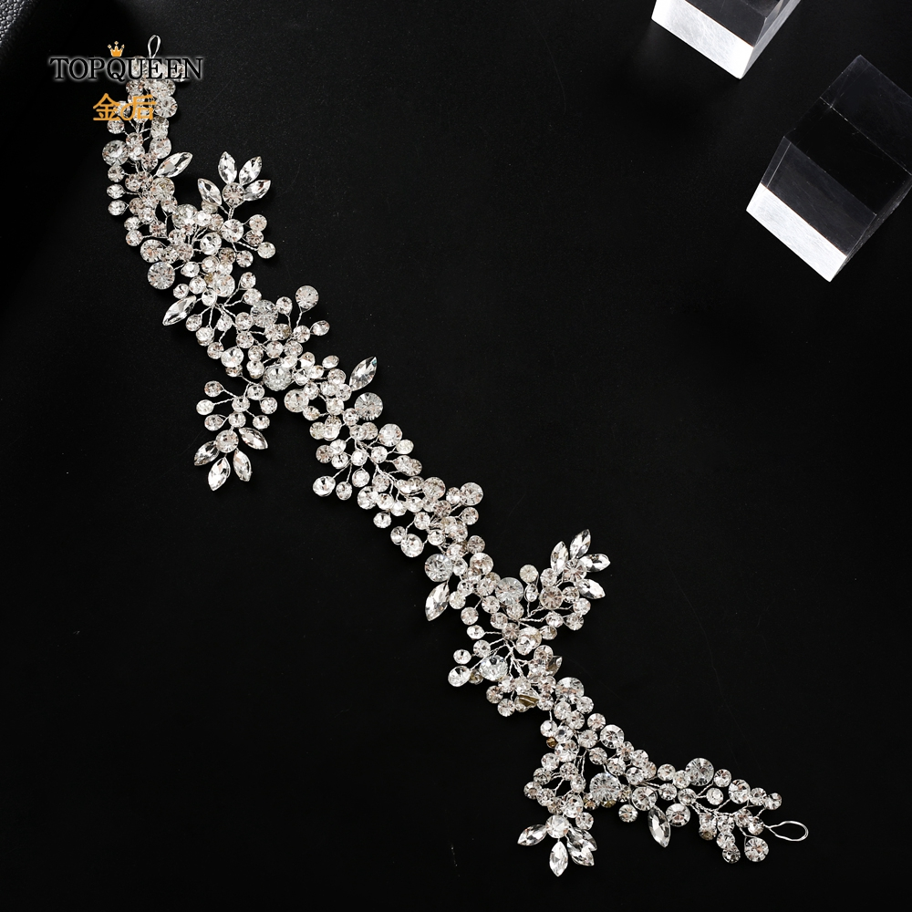 Image 2 - TOPQUEEN HP259 wedding hairpiece crystal headband woman hairband tiaras and crowns for women rhinestone hair vine wedding tiara-in Bridal Headwear from Weddings & Events