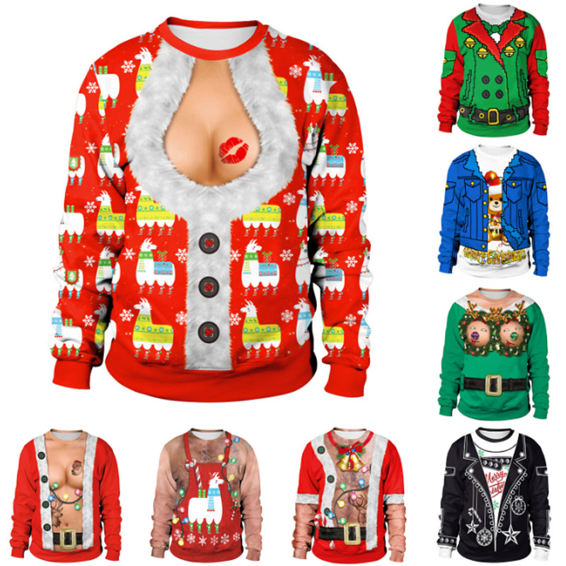 New Listing Christmas Sweaters Stylish Unisex Men Women Santa Claus Ugly Christmas Sweater Novelty Sexy RED Retro Sweater