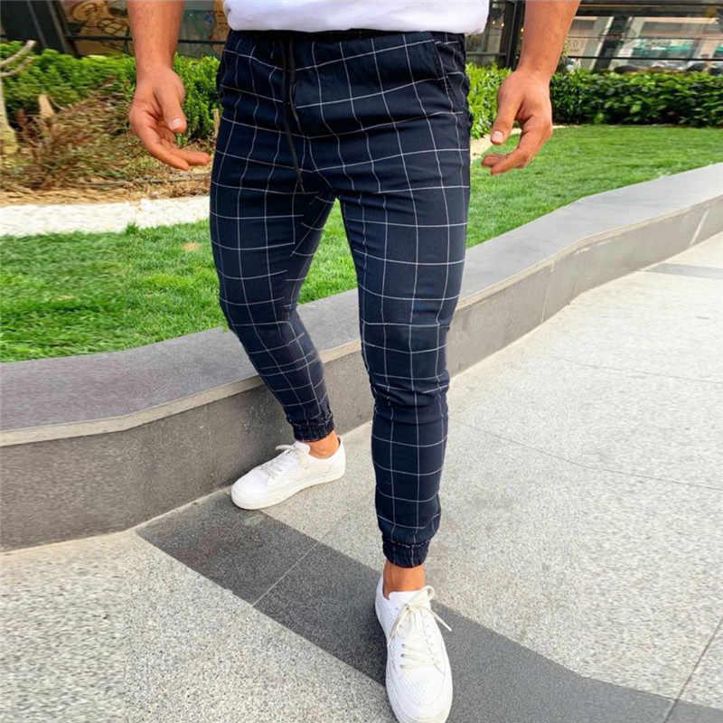 Pantalones De Moda Para Hombre Pantalones De Calle Hip Hop Pantalones Ajustados Chinos A Cuadros Ajustados Pantalones Para Correr Informales Pantalones Ajustados Aliexpress