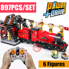 MOC Motorized RC Motor Power Function Express Train Station Fit Legoings Technic Potter Figures Building Block Brick Toy Gift