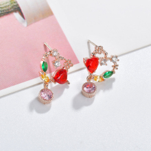 цена на chic drop earrings crystal heart earrings for women colorful rhinestone earrings crystal drop