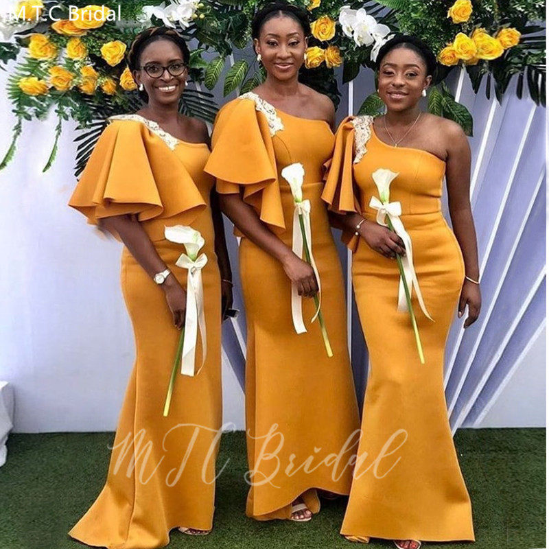 Golden One Shoulder African Bridesmaid Dresses With White Lace Half Sleeve Mermaid Satin Long Wedding Party Dress Plus Size