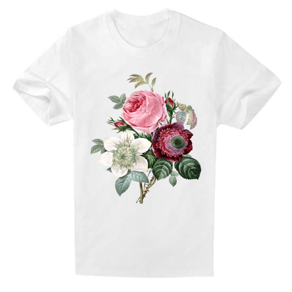 New Arrivals 100% Cotton Tops Floral Cherry Lily Print T-shirts For Pretty Ladies Streetwear Feminina Camiseta Loose T Shirt