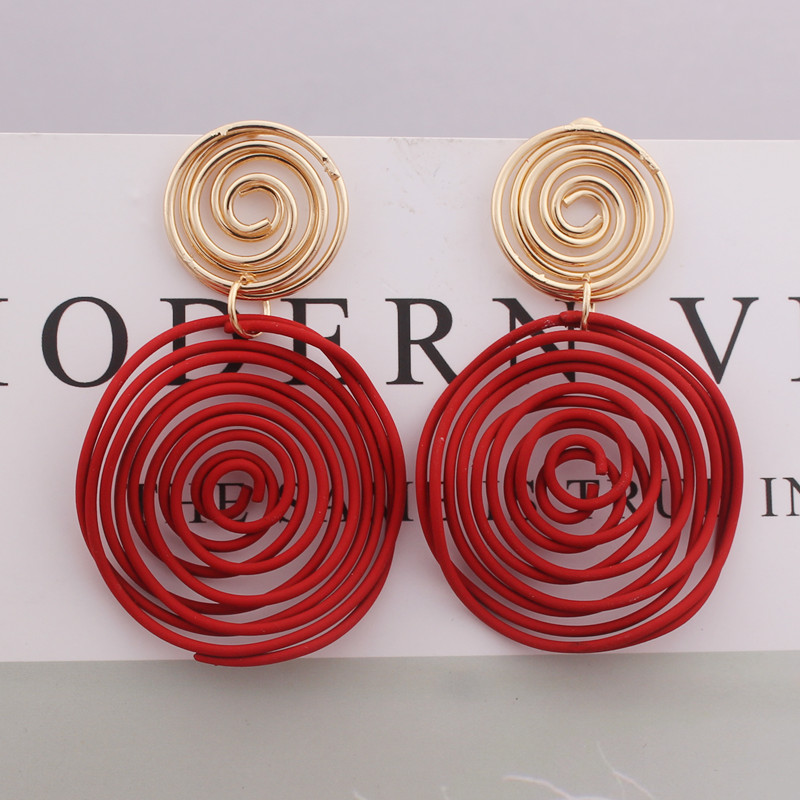 Big Round Drop Earrings Red Green Yellow Wire Spiral Earrings Geometric Metal Maze Exaggerated Wedding Party Jewelry Pendientes