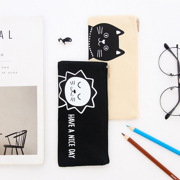 Creative Lion Bear Have A Nice Day Canvas Large Capacity Pencil Bag Stationery Storage Organizer Pencil Case School Supply
