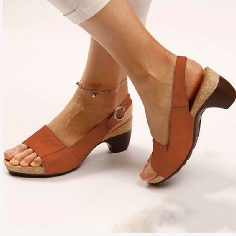 Plus Size Thick Heel Woman Sandals 2020 Summer New Peep Toe Buckle Wedges Shoes for Women Casual Shoes Sandals VT1009 (4)