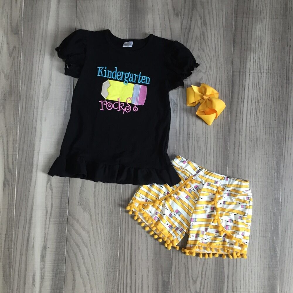 Baby Girls Summer Clothing Kids Back To School Outfits Black Shirt With Pencil Shorts Kindergarten Student Outfits With Bow