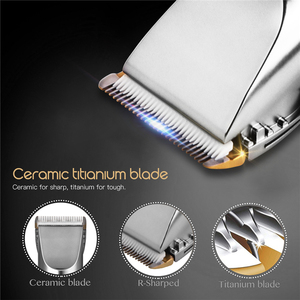 Image 3 - Professional Low Noise Rechargeable Haircut Machine Adjustable 0.8 2mm Electric Shave Titanium ceramic blade Hair Clipper P49