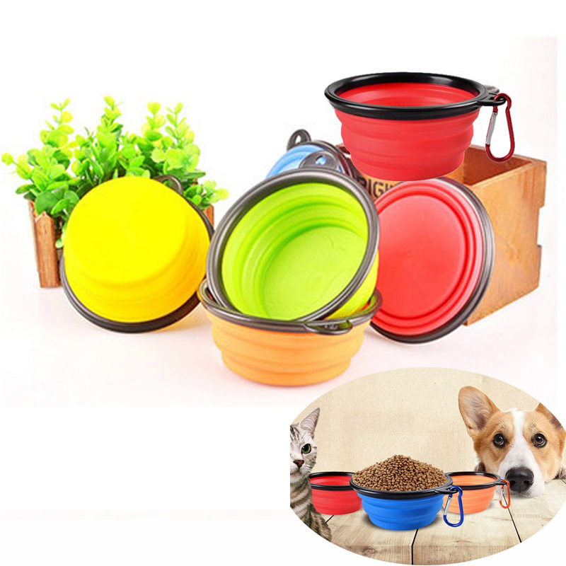 Silicone Cat Dog Bowl Outfit Folding Portable Travel Bowl For Dog Feeder Utensils Small Mudium Dog
