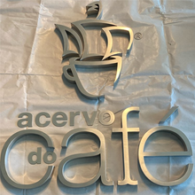 Brushed Letters Store-Signage Outdoor Custom Stainless-Steel Metal for Cafe-Shop Name