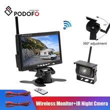 "Podofo אלחוטי 7 ""HD TFT LCD רכב גיבוי מבט אחורי מצלמה צג + Ir ראיית לילה Rearview גיבוי מצלמה מערכת עבור RV משאית"