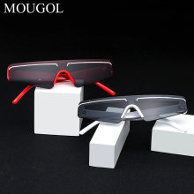 MOUGOL retro cat eye sunglasses women rimless gift party 2020 vintage sun glasses for men mirror lens half frame