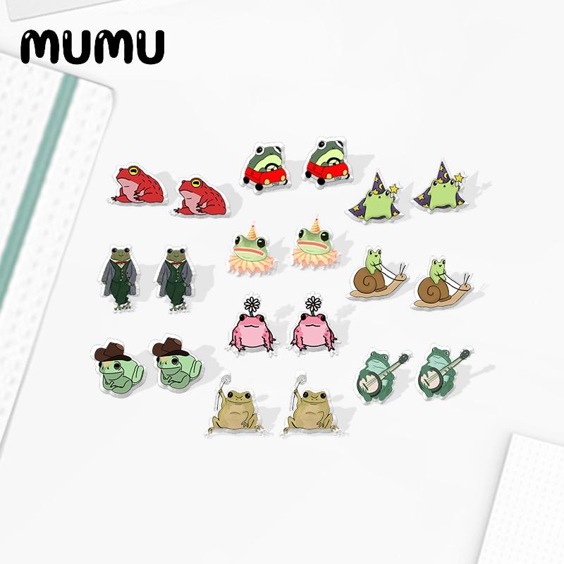 2020 New Cute Funny Frog Stud Earring Animal Acrylic Earrings Resin Epoxy Jewelry Gifts for Girl