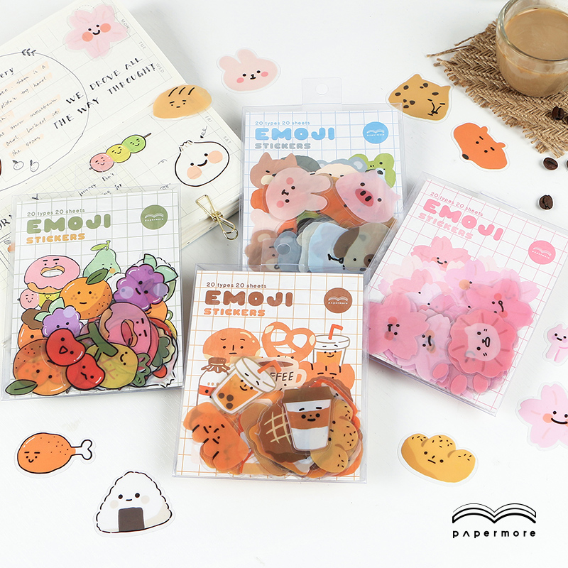 20 Pcs/bag Bread Expression Journal Decorative PVC Flower Stickers Scrapbooking Stick Label Diary Stationery Album Stickers