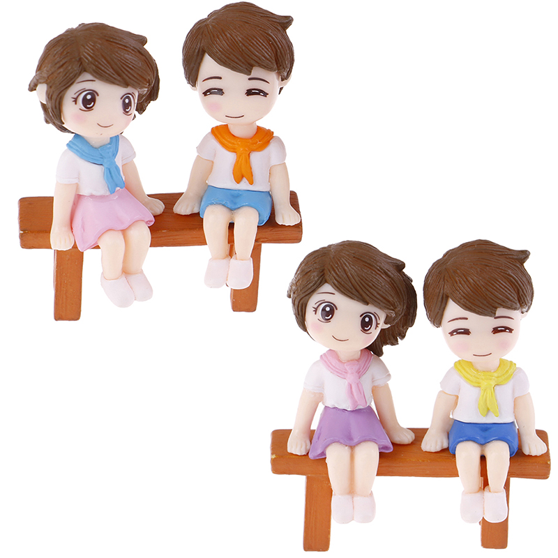 3Pcs/set Mini Stool Couples Dolls Fairy Garden Miniatures Decor Dollhouse/Terrarium Action Figures Figurine DIY Micro Landscape