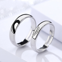Authentic S925 Heart-to-Heart Sterling Silver Couple Ring Korean Sterling Silver Niche Design Opening Adjustable Lover Ring цена 2017