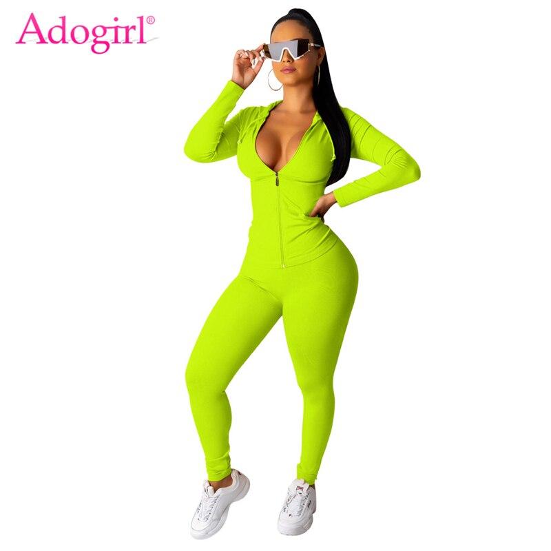 Adogirl Solid Women Tracksuit Two Piece Set Zipper Long Sleeve Hooded Sweatshirts Top Fitness Pants Casual Suit Sportswear