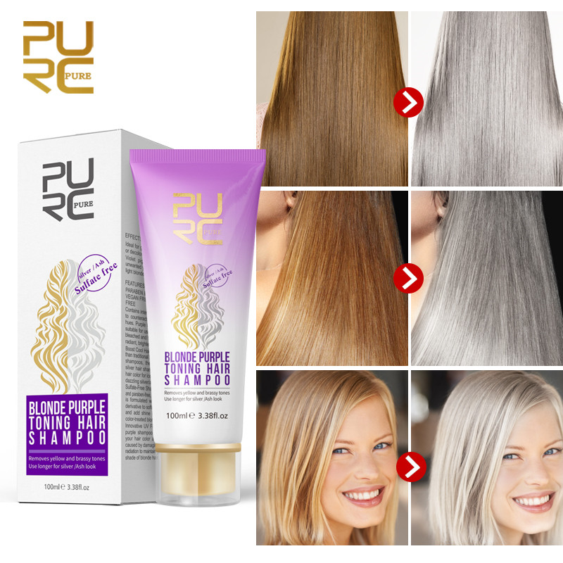 PURC Purple Shampoo For Blonde Hair Revitalize Blonde Bleached & Highlighted Hair Sulfate Free Color Treated Shampoo 100ml image