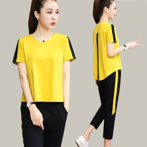 2020new fat mm show thin and trendy leisure sports set summer women's fashion large size loose leisure comfortable two piece set(China)