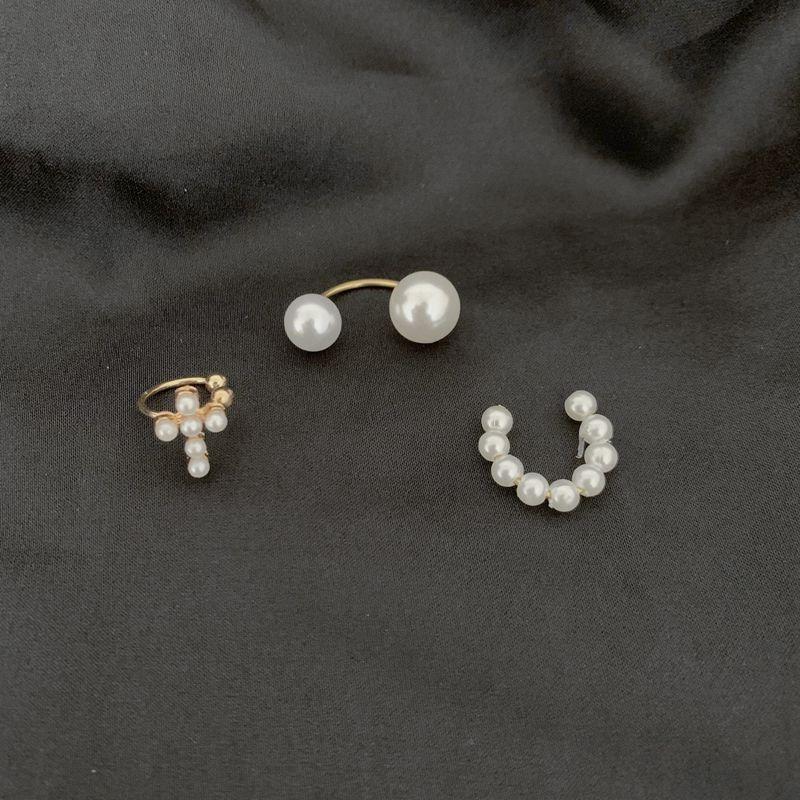 2020 New Simple Pearl Ear Cuff Cross Clip Earring Piercing Women's Clip Beautiful Jewelry