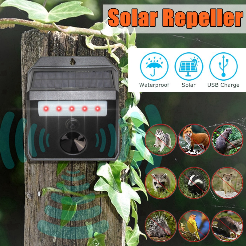 Outdoor Solar Powered Ultrasonic Garden Pest Animal Repeller Against Dog Mouse Bird Foxes Raccoon Control Rodent Garden Supplies