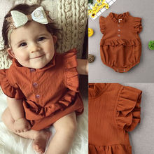 Newborn Baby Girl Ruffled Solid Color Sleeveless Backless Romper Jumpsuit Outfit Sunsuit цены