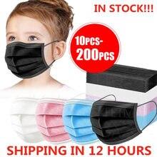 Masques faciaux jetables pour enfants, 10 à 200 pièces, filtre à 3 couches, Anti-poussière, Anti-grippe, protection buccale respirante en tissu fondu