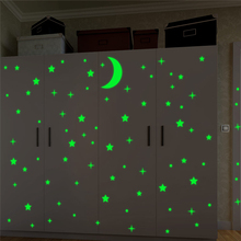 creative stars moon luminous wall stickers for kids rooms home decor green fluorescent wall decals glow in the dark wallpaper