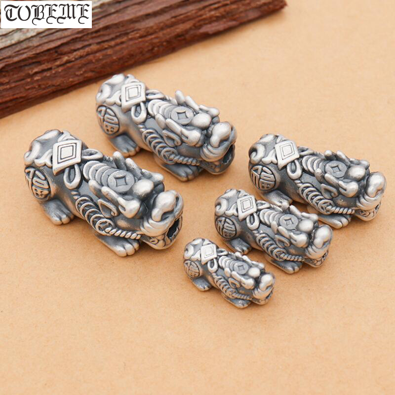 100% 3D 999 Silver Fengshui Pixiu Beads Vintage Silver Piyao Beads Good Luck Jewelry Beads DIY Bracelet Lucky Animal