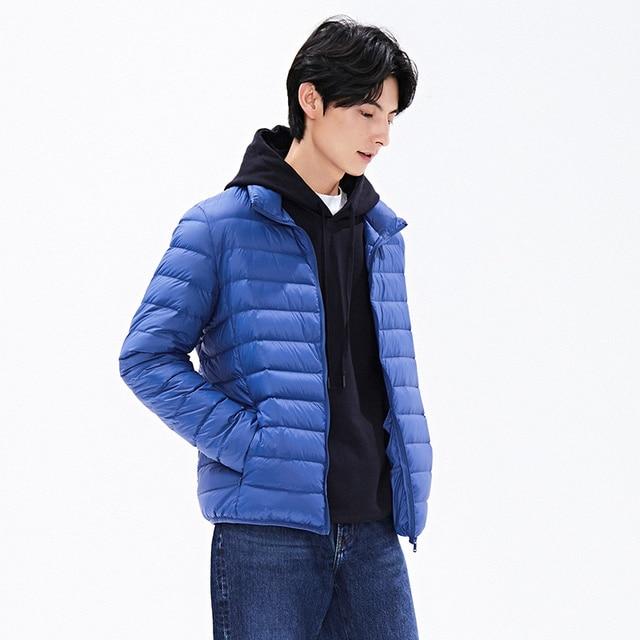 New Autumn Winter Man Duck Down Jacket Ultra Light Thin Plus Size Spring Jackets Men Stand Collar Outerwear Coat 3