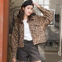 2019 New Arrival Casual Leopard Print Jean coats Women's Denim Jacket Oversize Casual Female Jacket Coat Jeans Jacket for Girl