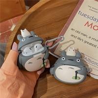 Caricatura Mona Totoro-funda 3D para AirPods 1 2, Gato Kawaii, silicona suave, auriculares inalámbricos Bluetooth, cubierta protectora para Airpods Pro