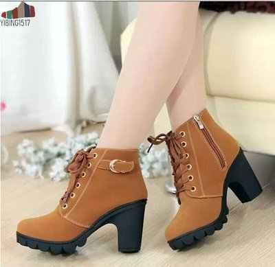 NAUSK 2019 Yeni Sonbahar Kış Kadın Çizmeler Yüksek Kaliteli Katı dantel-up Avrupa Bayan ayakkabıları PU Moda yüksek topuklu çizmeler 35-43