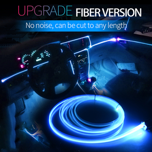 Светодиодный свет для салона автомобиля, 12 В, оптическое волокно, неонсветильник свет для создания атмосферы, автомобильные аксессуары, дек...