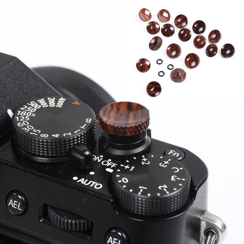 Replacement Durable Shutter Release Button Wood Texture Pure Copper Camera Accessories For Fujifilm Fuji XT20 X100F Nikon Canon
