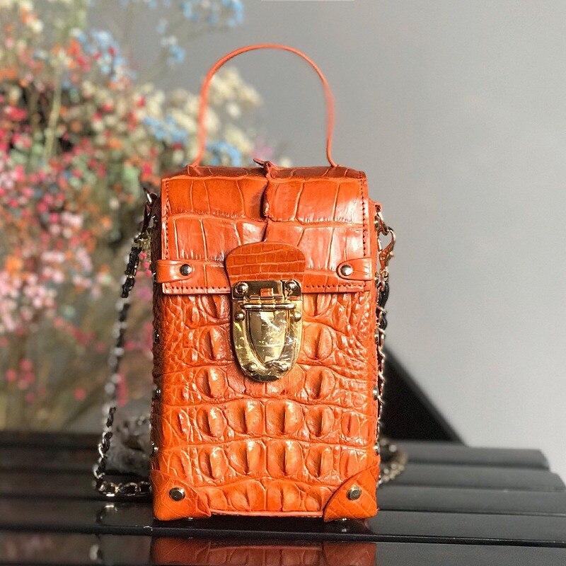 Bagaj ve Çantalar'ten Omuz Çantaları'de Lüks Tasarımcı Hakiki Timsah Timsah Deri Bayan Mini Çiviler Kutusu Çanta Kadın Telefon Manşonlar kadın zincir omuzdan askili çanta'da  Grup 1