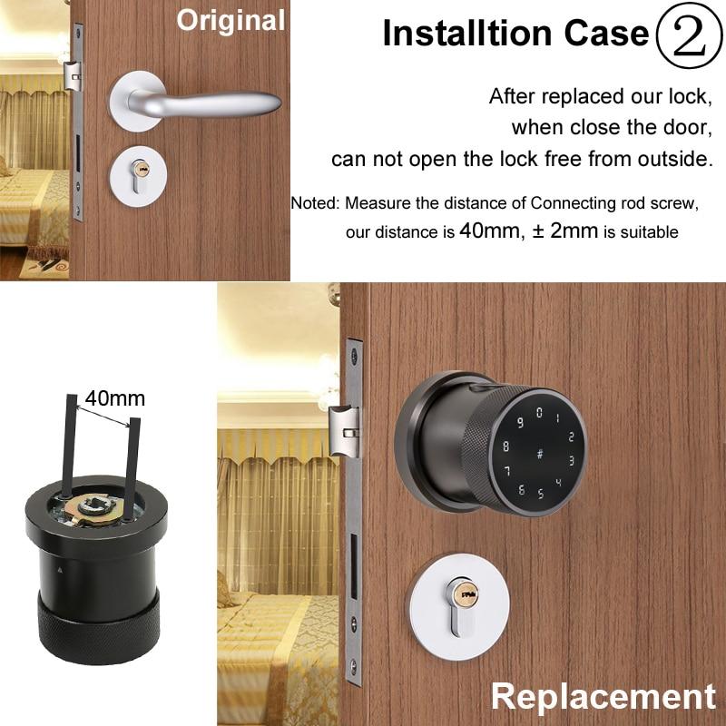 Hbe0a0720a5f74bf6a8dd635439dae286O TT lock APP Fingerprint Door Lock Digital Keyboard Smart Card Combination knob Lock For Home / Office / Hotel DIY Door Lock