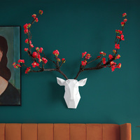 Deer head With Flower Horn 3d Wall Decor Modern Animal Hear Livingroom house Decorations Abstract Sculpture wall Statue for Gift
