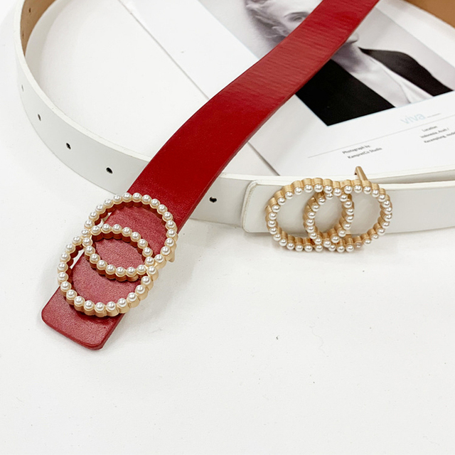 Inlaid Pearl Belts for Women waist Luxury Simple High Quality PU leather Belt jeans Belts for Dress studded buckle girls 2020 6