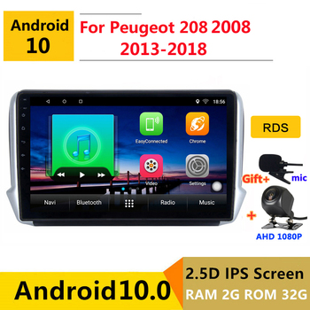 Android 10 Car DVD Multimedia Player GPS For Peugeot 2008 208 2013 2014 2015 2016 2018 2020 audio auto radio stereo navigation image